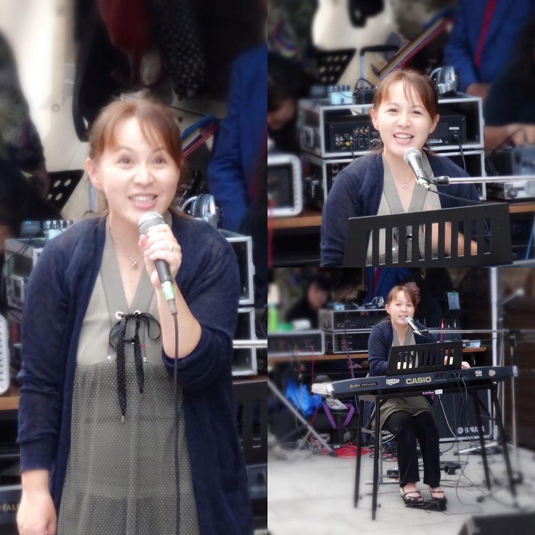シンガーソングライター @umetaniyouko  梅谷陽子さん 道頓堀ライブ #ママさんシンガー